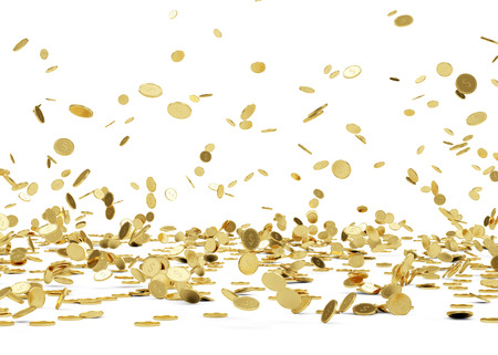 Rain from Golden Coins  Falling Gold Coins Isolated on white background photo
