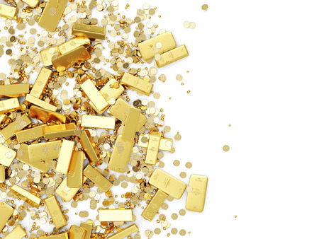 Heap of Treasure  Golden Bars, Coins and Golden Pieces isolated on white background  Business Financial Concept with place for Your Text Stock Photo