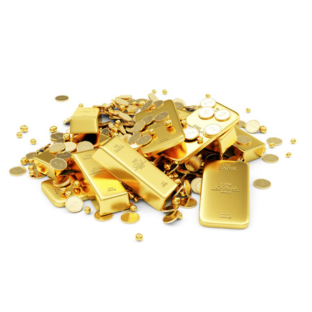 bullion: Heap of Treasure  Golden Bars, Coins and Golden Pieces isolated on white background  Business Financial Concept