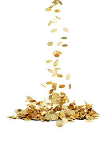 Vallende gouden munten geïsoleerd op witte achtergrond Stockfoto