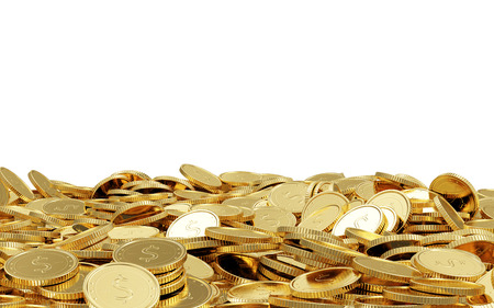 Heap of Golden Coins isolated on white background with place for Your text Stock Photo