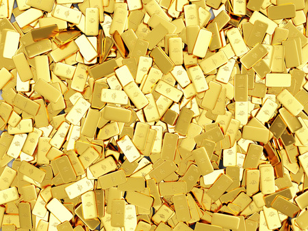 Heap of Flat Golden Bars Abstract Background