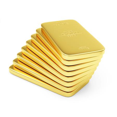 luxo: Pilha de Barras de Ouro planos isolado no fundo branco Banco de Imagens