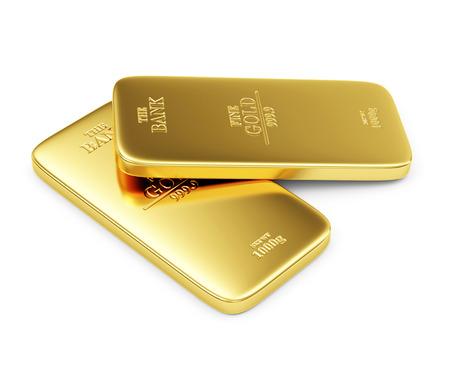 lingotes de oro: Dos barras de oro planos aislados sobre fondo blanco