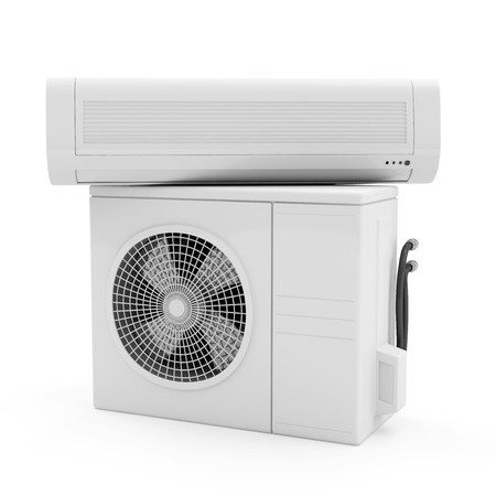 Air Conditioner System isolated on white background photo