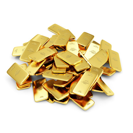 gold ingot: Heap of Flat Golden Bars isolated on white background Stock Photo
