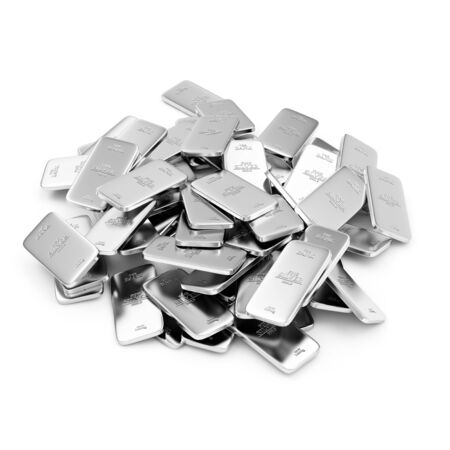 Heap of Flat Silver Bars isolated on white background Stock Photo