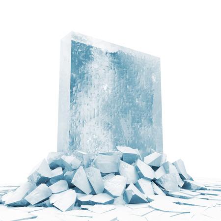 derrumbe: Resumen Ilustraci�n de s�lido bloque de hielo se rompe a trav�s del suelo de hielo