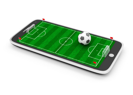 Mobile Football Concept  Soccer Field in Touchscreen Smart Phone with Soccer Ball isolated on white background photo