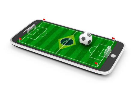 terrain foot: Football Mobile Concept Terrain de football à écran tactile Smart Phone avec ballon de soccer isolé sur fond blanc