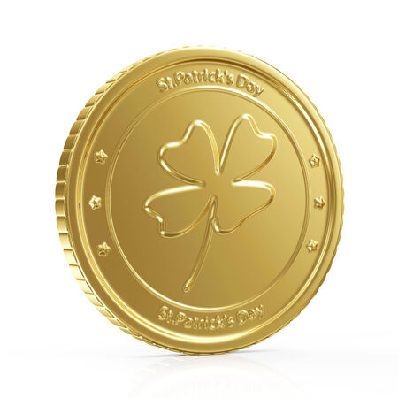 Golden Coin with four leaf clover  St  Patrick s Day symbol isolated on white background photo