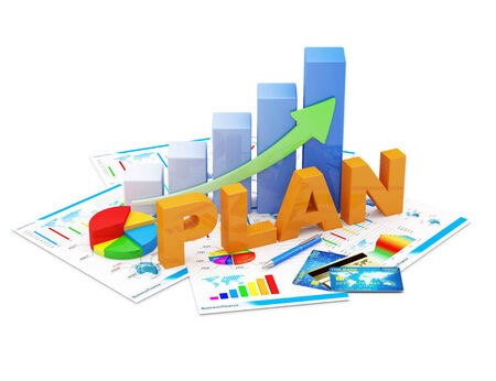 Business Strategy Planning Concept  Business Graph, Pie Chart and Financial Reports isolated on white background photo
