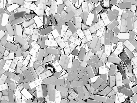 Heap of Flat Silver Bars Abstract Background