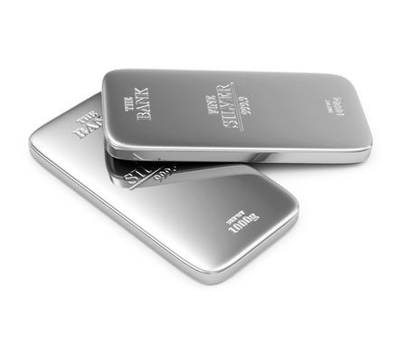 Twee Flat Silver Bars op een witte achtergrond Stockfoto