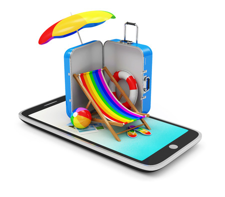 abroad: Vacation with Mobile Phone Concept  Touchscreen Smart Phone with Different Accessories for Vacation isolated on white background Stock Photo