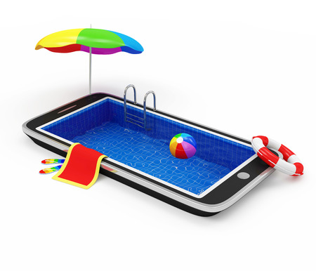 flops: Vacation with Mobile Phone Concept  Touchscreen Smart Phone with Swimming Pool and Different Accessories for Vacation isolated on white background