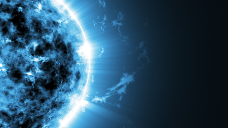fantasy world: Abstract Illustration of an a Big Blue Sun Star in Space with place for Your text