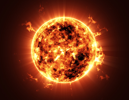 3d planets: Abstract Illustration of an a Big Sun Star in Space