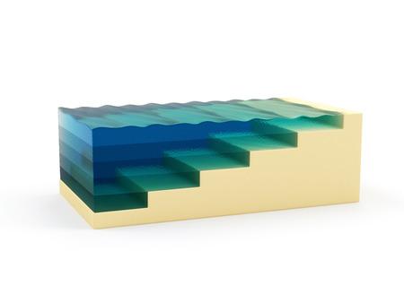 the deepest: Ilustraci�n abstracta de la Estructura de los Fondos Marinos sobre fondo blanco Esquema Oc�ano Corte transversal con Deepest Puntos de Ocean Geolog�a Concept Foto de archivo