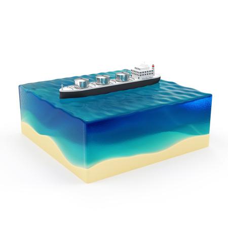 tanker ship: Oil Tanker Ship on Beautiful Ocean Landscape isolated on white background Stock Photo