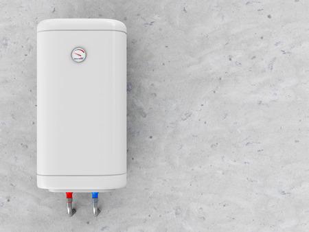 現代電気給湯装置、コンクリートの壁に 写真素材