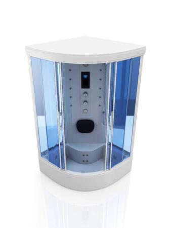 duschkabine: Moderne Duschkabine isoliert auf wei�em Hintergrund Lizenzfreie Bilder