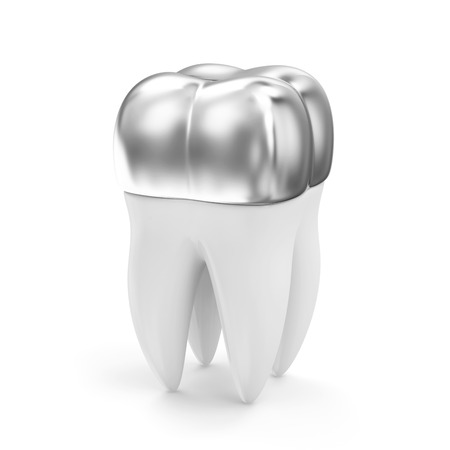 buckler: Silver Dental Crown on a Tooth isolated on white background Stock Photo