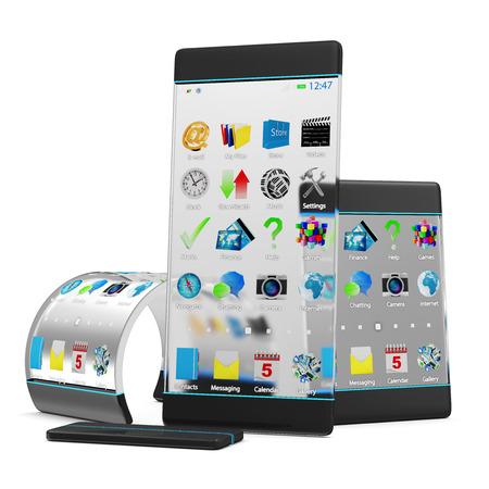 첨단 기술과 혁신 개념. 흰색 배경에 고립 된 투명 디스플레이와 유연한 구조와 현대적인 터치 스크린 스마트 폰