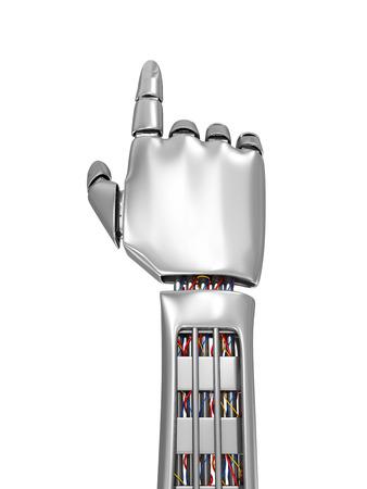 Concept de technologie de pointe. Métal Main robotique quelque chose de touchant isolé sur fond blanc