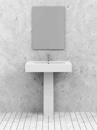 現代のセラミック洗面台や鏡があるトイレ インテリア 写真素材