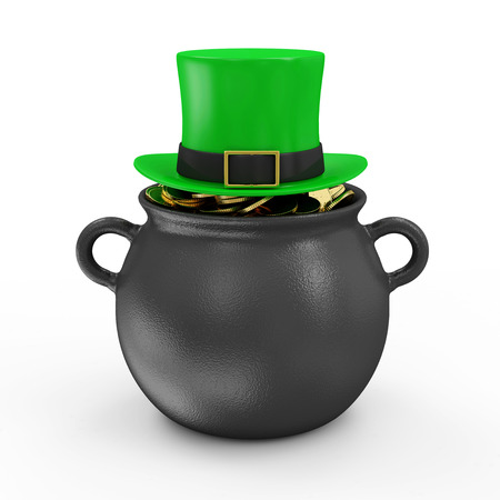 Iron Pot with Golden Coins and Green Leprechaun Hat for Traditional Irish holiday St. Patrick\ photo
