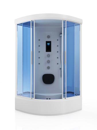 duschkabine: Moderne Dusche mit Kabine isoliert auf wei�em Hintergrund Lizenzfreie Bilder