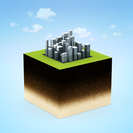 Ground Cross Section with Modern Business City on beautiful blue background with clouds photo