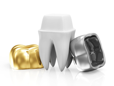 Dental Crowns with a Tooth isolated on white background