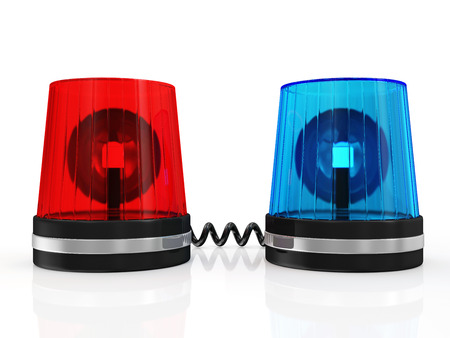 Red and Blue Siren System isolated on white background photo