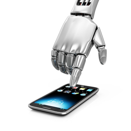 Advanced Technology Concept. Metal Robotic Hand Touching Modern Smart Phone isolated on white background photo