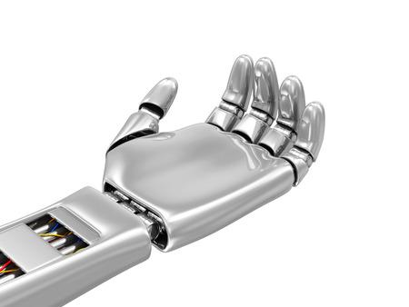 mano robotica: Concepto de Tecnología Avanzada. Metal Mano robótica con la palmas hacia arriba aislados en fondo blanco