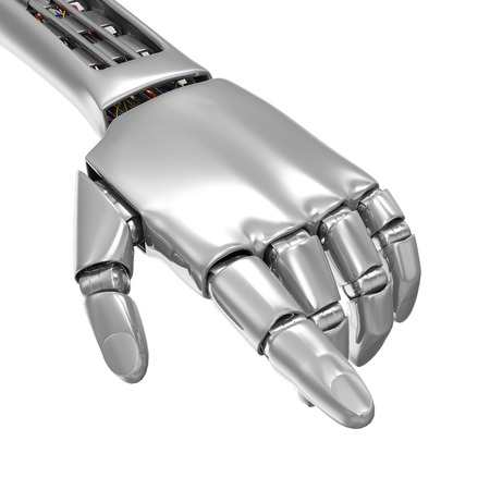 Advanced Technology Concept. Metal Robotic Hand Touching Something isolated on white background Stock Photo