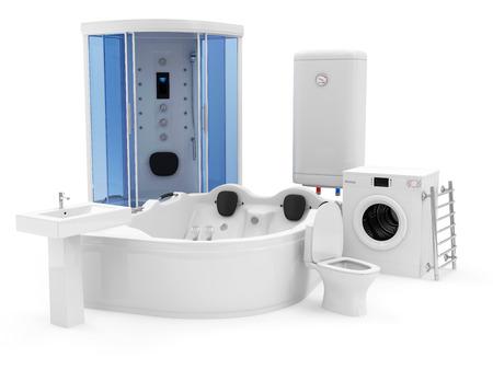 cabine de douche: Groupe de bains �quipement. Cabine de douche, jacuzzi, Chauffe-eau �lectrique, lave-linge, toilettes, lavabo et salle de bains s�che-serviettes Banque d'images
