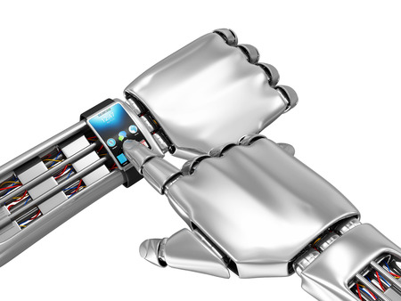 robot hand: Advanced Technology Concept. Modern Smart Watch on a Metal Robotic Hand isolated on white