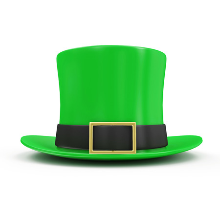 Green Leprechaun Hat for traditional Irish holiday St. Patricks Day isolated on white background photo