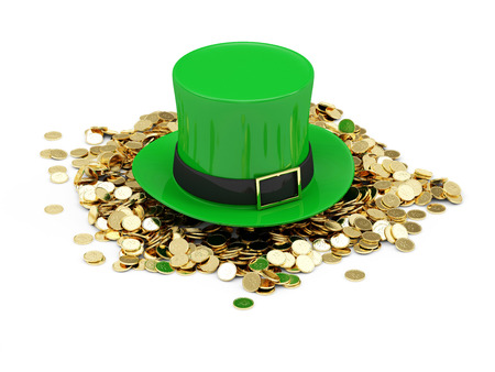 Green Leprechaun Hat with Golden Coins for traditional Irish holiday St. Patricks Day isolated on white  photo