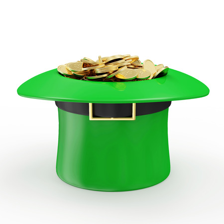 Green Leprechaun Hat with Golden Coins for traditional Irish holiday St. Patricks Day isolated on white background photo