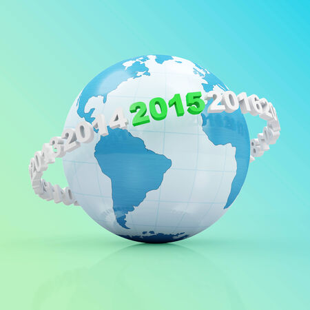 New Year 2015 around Earth planet on gradient background photo