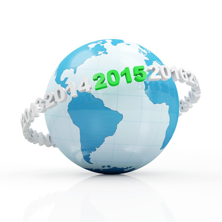 New Year 2015 around Earth planet isolated on white background