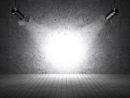 spot light: Empty Grunge Room with Concrete Wall and Spotlights