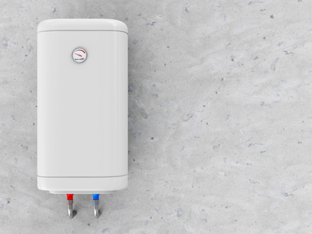 Modern Electric Water Heater on the Concrete Wall photo