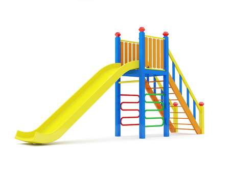 play ground: Colorful Children Slide isolated on white background Stock Photo
