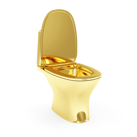 Golden Toilet isolated on white background