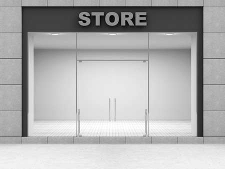 entrance: Modern Empty Store Front with Big Windows